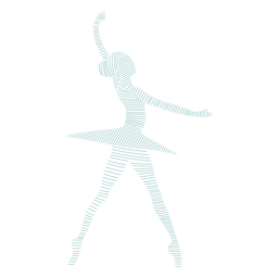 Bailarina, bailarina, saia, postura, listrado, silueta