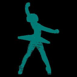 Bailarina de ballet bailarina falda postura rayas silueta
