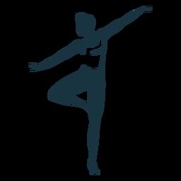 Silhueta detalhada de postura de graça de dançarina de balé