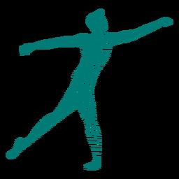 Silhueta de postura de dançarina de balé listrado