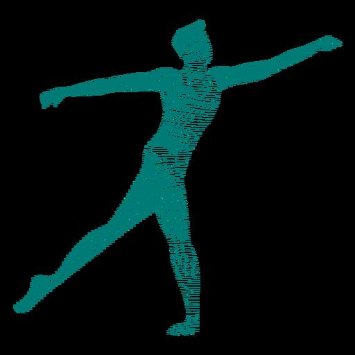 Silhueta de postura de dançarina de balé listrado Transparent PNG