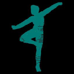 Baile de ballet a rayas silueta