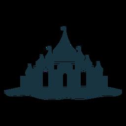 Silhueta detalhada da abóbada do telhado da porta da torre do palácio do castelo