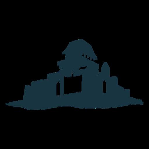 Silhueta detalhada da cúpula do telhado da torre do castelo