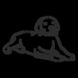 Liegendes Gekritzel des Hundewelpenohrs