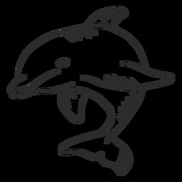 Golfinho nadadeira rabo nadando doodle