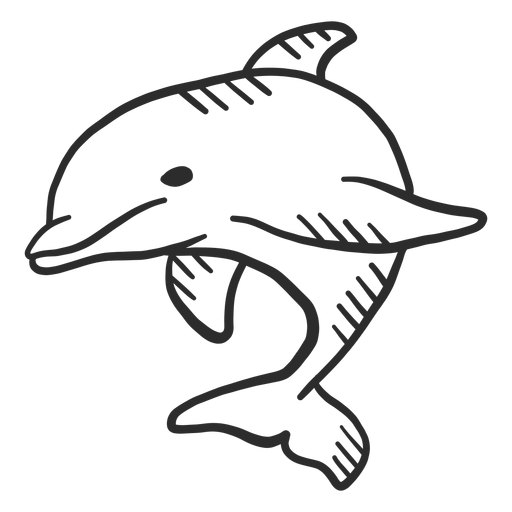 Dolphin flipper tail swimming doodle Transparent PNG