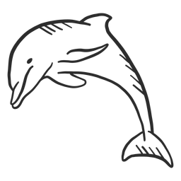 Rabo de golfinho nadando doodle de nadadeira