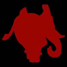 Silhueta detalhada do elefante ouvido marfim tronco cauda padrão