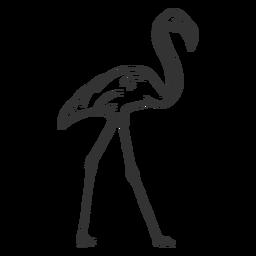Doodle de la pierna del cuello del pico del flamenco