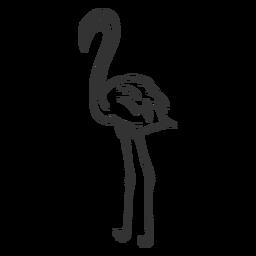 Doodle de pico de pierna de cuello de flamenco