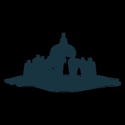 Fortaleza, torre, portão, citadel, stronghold, castelo, detalhado, silueta