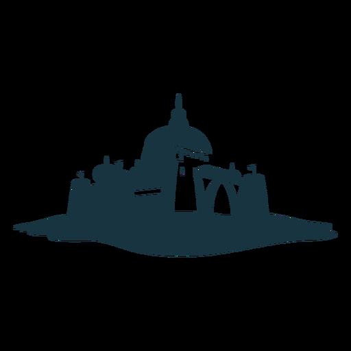 Fortaleza torre portão cidadela fortaleza castelo silhueta detalhada