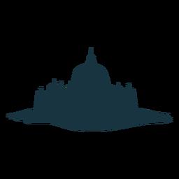 Fortaleza, torre, portão, citadel, stronghold, castelo, silueta