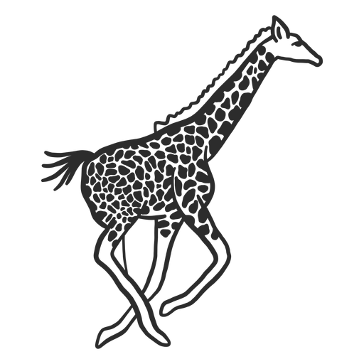 Giraffe spot neck ossicones tail running doodle Transparent PNG