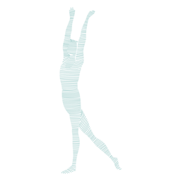 Silhueta de postura de dançarina de balé de graça listrada