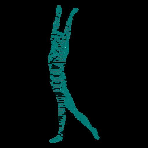 Grace ballet dancer posture striped silhouette