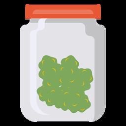 Jar Glas Gras Marihuana flach