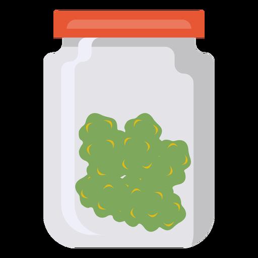 Jar glass grass marijuana flat
