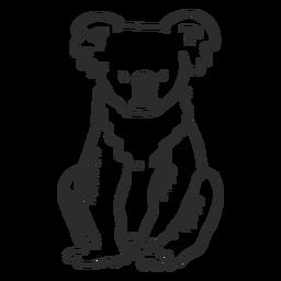 Nariz de orelha de coala sentado doodle