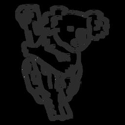 Doodle de orelha de ramo de nariz de coala