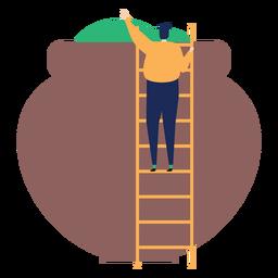 Escalera escalera escalera altura maceta fertilizante plano