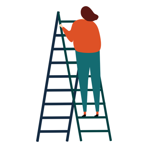 Ladder step ladder height woman flat Transparent PNG