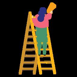 Escada, passo, escada, altura, mulher, megafone, falando, trompete, apartamento