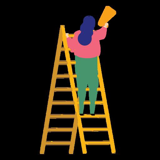 Ladder step ladder height woman megaphone speaking trumpet flat Transparent PNG