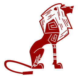 Lion king tail mane pattern detailed silhouette