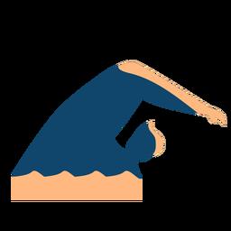 Homem, onda, natação, detalhado, silueta