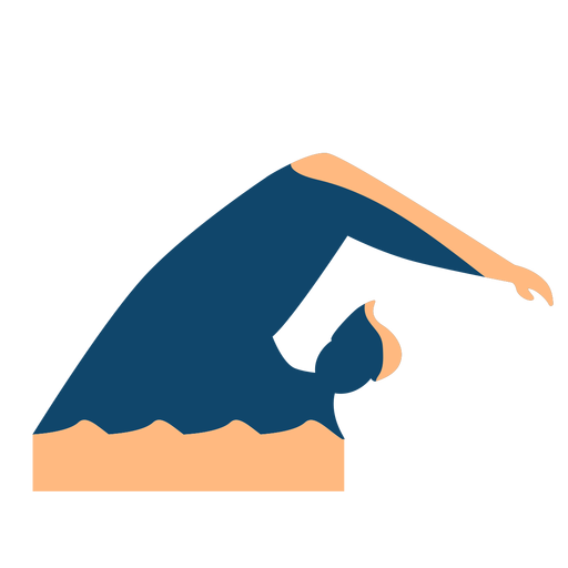 Man wave swimming detailed silhouette Transparent PNG