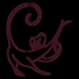 Macaco perna cauda focinho linha de maçã
