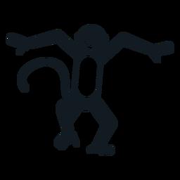 Mono de cola de mono boca bailando silueta detallada