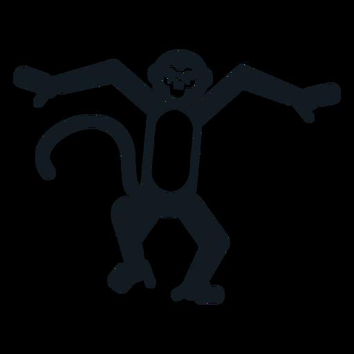 Mono de cola de mono boca bailando silueta detallada Transparent PNG