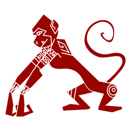 Monkey leg tail muzzle pattern detailed silhouette