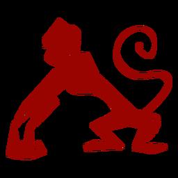 Silueta detallada del patrón de boca de la cola del mono