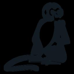 Mono de cola de mono cola sentada silueta detallada