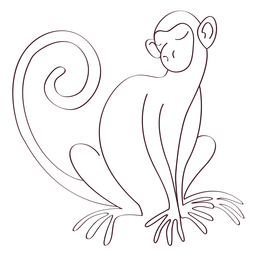 Mono de cola de pata cola sentado línea