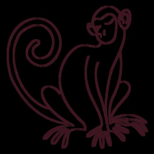Mono de cola de pata cola sentado línea Transparent PNG
