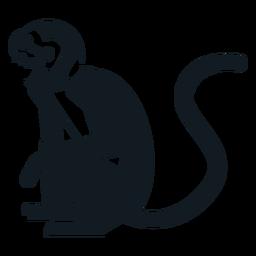 Mono sentado pierna cola bozal silueta detallada