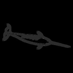 Doodle de colmillo de cola de aleta de narval