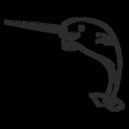 Narwal Schwanz Stoßzahn Flipper Gekritzel