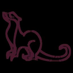 Linha da cauda do focinho da perna lontra