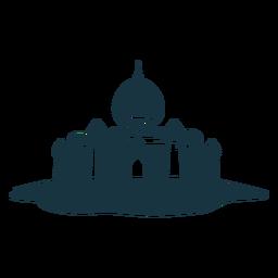 Silhueta detalhada da abóbada do pináculo do telhado da porta da torre do palácio