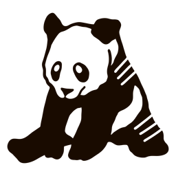 Panda Sitzplatz Ohr Fang Fett Gekritzel