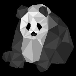 Panda sentado no local da orelha focinho gordo baixo poli