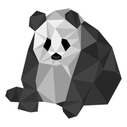Panda sitting spot ear muzzle fat low poly
