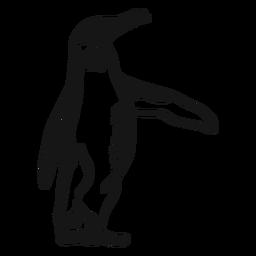 Doodle de pinguim bico de asa de pinguim