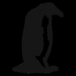 Sombra de bico de pinguim sentado doodle